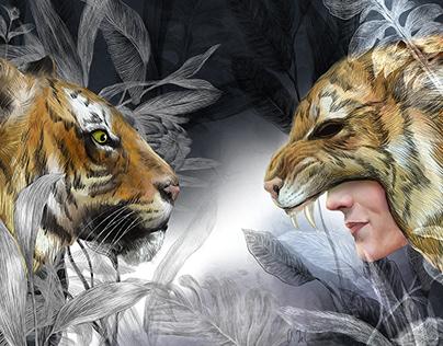 Predator, tiger animal illustration, hunter drawing art