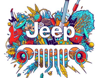 Gráfica ilustrada para Jeep Chile