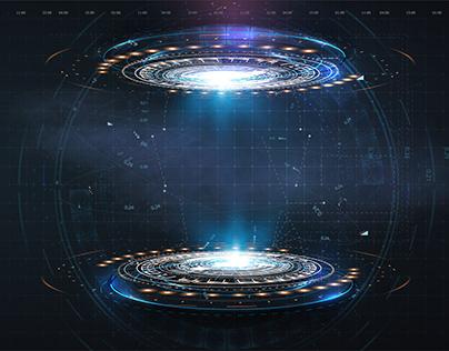 Portal or hologram digital futuristic circle elements.