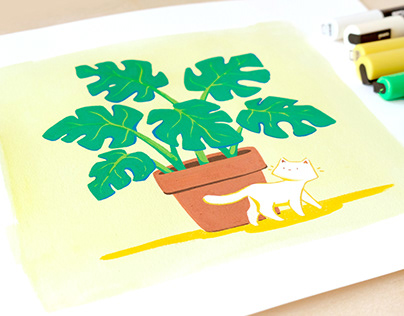 Monstera and a Kitty