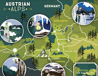 Austrian Alps Illustrated map