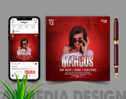 Dj event party flyer square template