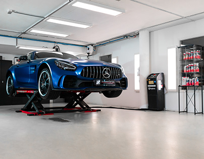 Xclusive Car Care workshop, showing a Mercedes AMG GT R