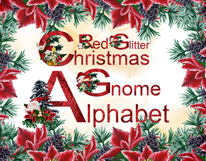 Red Glitter Christmas Gnome Alphabet