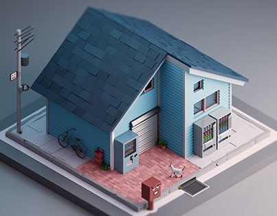 A house in japan. Low Poly 3D.