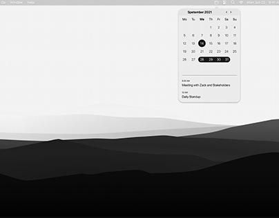 Minimal Light Mode MacOS Calendar App - UI Design