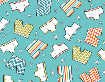 Underpants in the sky with stars and chevrons