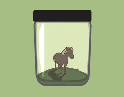 Tiny pony in a jar.