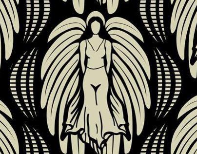 Art Deco Angel Repeating Fabric Pattern