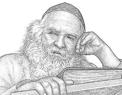 Hedcut portrait of a rabbi
