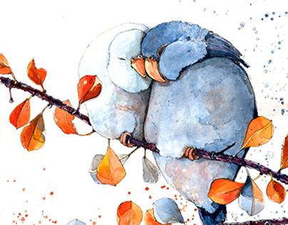 Parrots. Watecolor