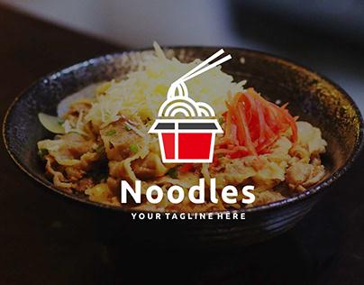 Chinese noodles in red bowl chopsticks logo design