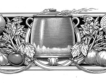 Woodcut style illustration