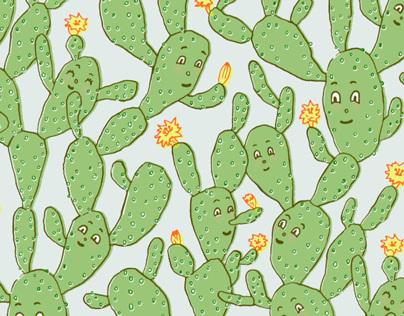 Happy Cactus Pattern