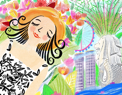 """Singapore Trip"" city illustration"