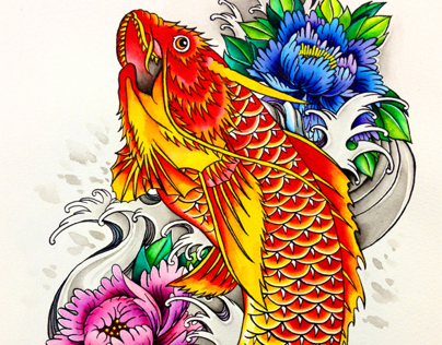 Koi Fish Flash Art Koi Fish Tattoo Flash Design