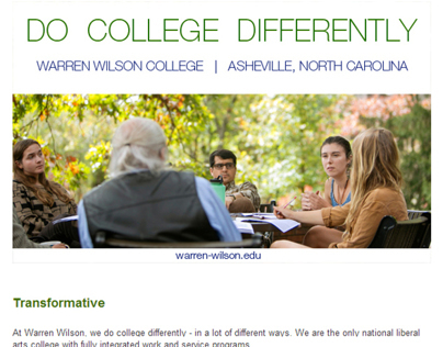 Select Email Design for Warren Wilson College