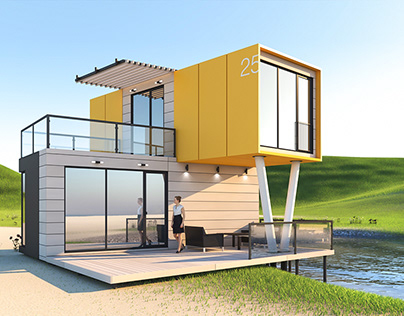 Creation of modul house visual design.