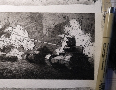 """""""Tanks,"""" 3 x 5 in, Pen and Ink, 2014"""