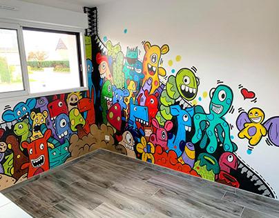 Fresque dans une salle de jeu