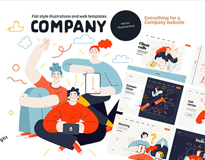 Company, flat web illustrations