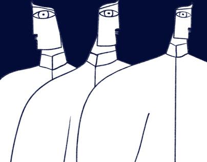 Trois hommes sur fond bleu