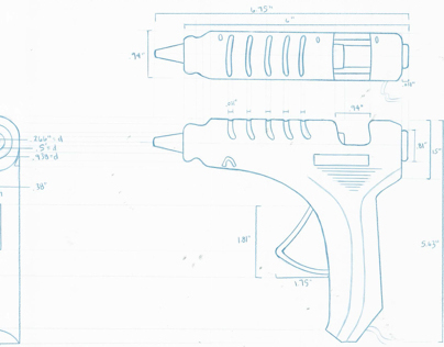 Orthographic Sketch: Glue Gun