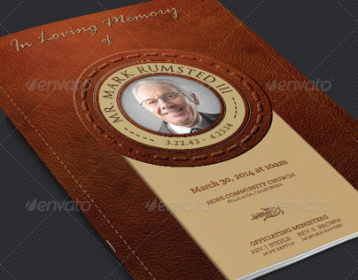 Leather Funeral Service Program Template
