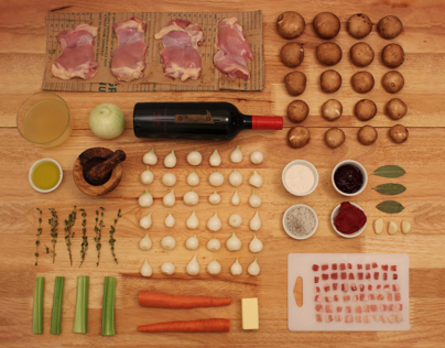 Infographic Styleframes: How to make Chicken Coq Au Vin