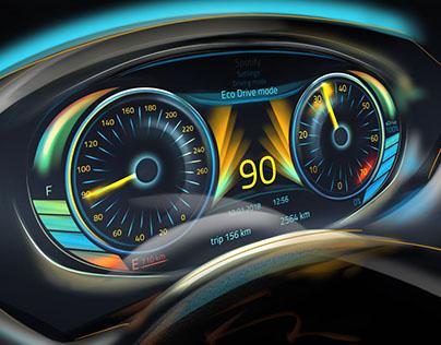 Car dashboard cluster interface design