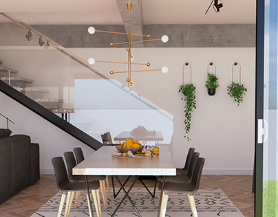 CGI - Sala de Jantar - Casa Industrial