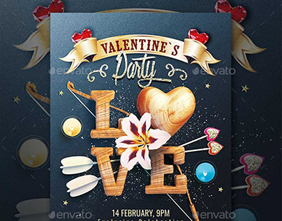 Valentine`s Party Flyer Template