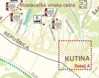 Tourist map of Kutina ( Town in Croatia )