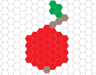 Fruit logo on hexagonal grid.