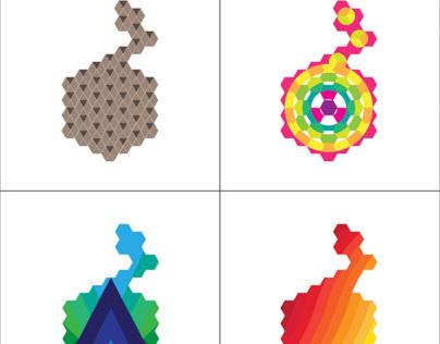 Fruit logo on hexagonal grid - variations 2.