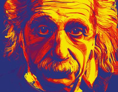 Albert Einstein Digital Portrait In Adobe Illustrator