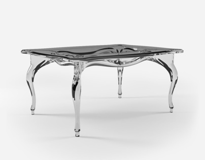 Acrylic Table in Classic Style. Product 3D Rendering.