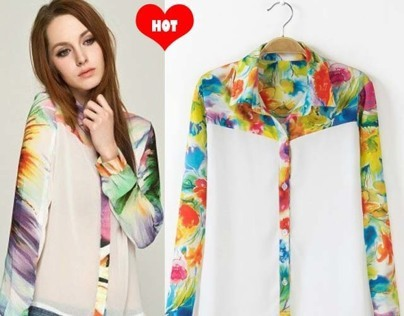 Colored Floral Chiffon Shirt Female Blouses Tops
