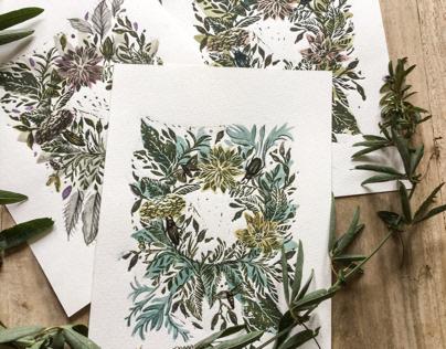 Handprinted floral wreaths