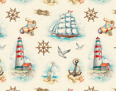 Nautical illustrations and pattern design