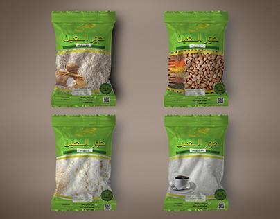 تصميم باكيت منتجات مصنع حور العين ( أرز - دقيق - سكر -