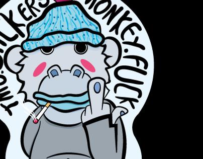 Monkey Fuck Stickers #2