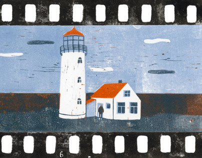 """Linocut story """"Summer on the lighthouse"""""""