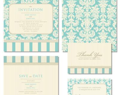 Set of classic wedding invitations
