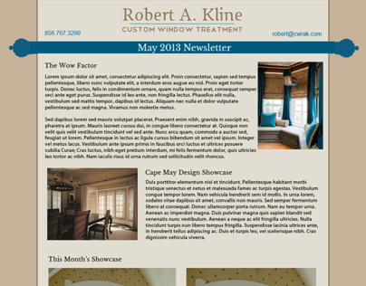 Robert Kline Custom Windows Email Newsletter Design