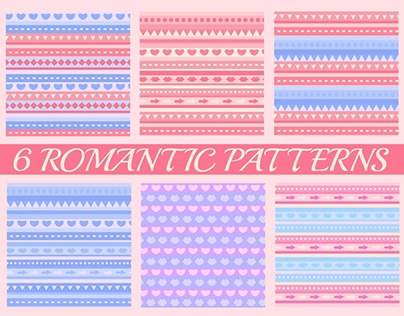 Collection of 6 romantic patterns