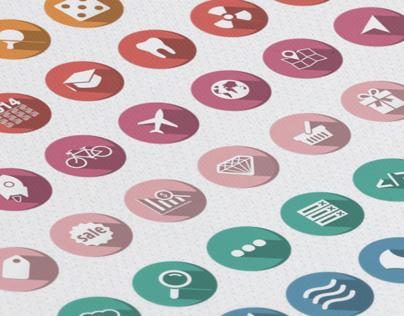 Rounded Flat Icons Set