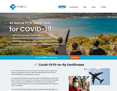 Covid 19 Fit2Fly Web Design Entry