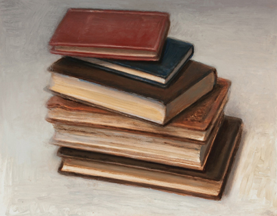 books, still life paintings