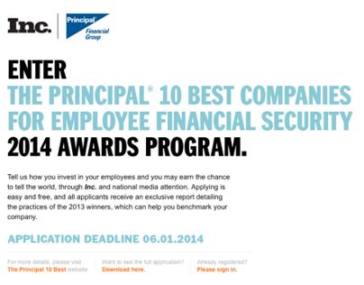 Principal Ten Best Companies Application Form